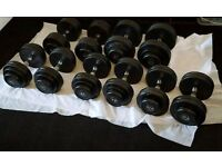 Commercial quality dumbells, dumbbells 5 pairs 17.5kg to 27.5kg rubber coated
