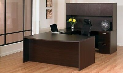 New Napa Espresso Bowfront U-shape Executive Office Desk With Hutch