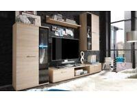 MODERN WALL UNIT SALSA-ENTERTAINMENT UNIT, HIGH QUALITY, TV UNIT,2xCABINET WARDROBES, HANGING SHELF