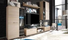 MODERN WALL UNIT SALSA~ENTERTAINMENT UNIT, HIGH QUALITY, TV UNIT, 2 CABINET WARDROBES, HANGING SHELF
