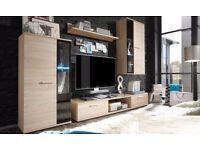 MODERN WALL UNIT SALSA ,*NEW**, HIGH QUALITY, FLATPACK TV UNIT 2X CABINET, WARDROBE, HANGING SHELF