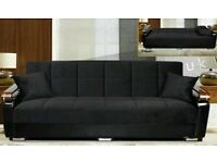 **7-DAY MONEY BACK GUARANTEE!** Talbot Fabric Sofabed with Wooden Arms in Black or Brown -BRAND NEW!