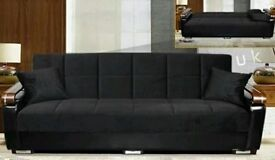 BRAND NEW- High End Turkish Fabric Sofabed with Cushions, Galvanised Wooden Arms -SAME DAY DELIVERY!