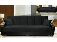 BRAND NEW- High End Fabric Sofabed with Galvanised Wooden Arms - Turkish Made - SAME DAY DELIVERY!