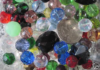 (1/2 Lb/ Half Pound- Medium to Large Faceted Glass Beads- Randomly Assorted Lots)