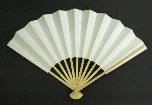 Japanese Odori Fan Geisha Dance Hand Held SENSU Folding Fan White Made in Japan