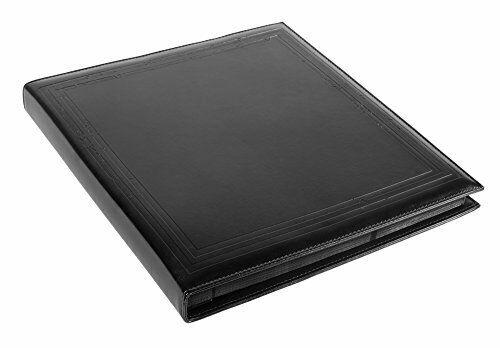 "Black Faux Leather Photo Album with Embossed Borders, Max. 500 4x6"" Prints"
