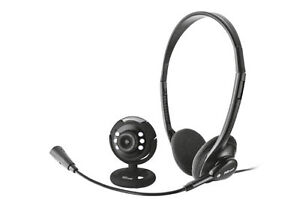 NEW TRUST CHATPACK 31030 BLACK 300K LED WEBCAM WITH BUNDLED HEADSET/MICROPHONE