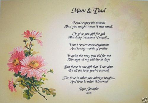 Mum And Dad Poem Home Furniture Amp DIY EBay
