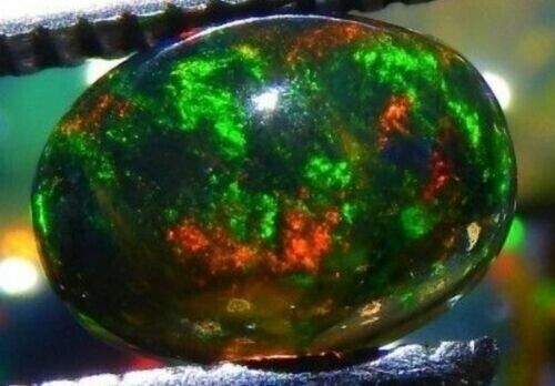 ETHIOPIAN BLACK FIRE OPAL 9 x 7 MM OVAL CABOCHON CALIBRATED ALL NATURAL F-3221
