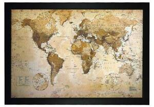 map world vintage framed