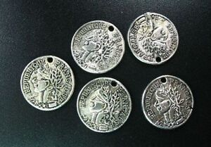 30pcs Tibetan Silver Coin Round Charms 19mm R740