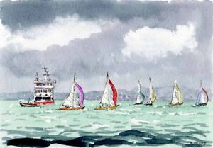 Isle of Wight Ferry Solent  Artists Doug Myers Watercolour PRINT 1001