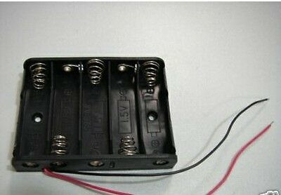 2p 5 X Aa 5aa 7.5v Battery Holder Pp3 Case W Lead Cable