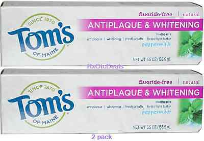 Maine Whitening Zahnpasta (Tom's of Maine Antiplaque-Whitening, Fluoride Free Toothpaste Peppermint 5.5 x 2)