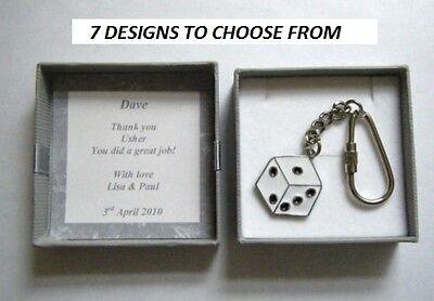 Usher key ring in personalised gift box choice of 7 designs Wedding thank you - Usher In Wedding