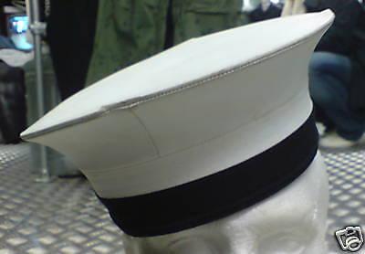 Original Britische Marine Weiß & Blau Pork Pie Matrosenmütze Kostüm - Britische Marine Kostüm
