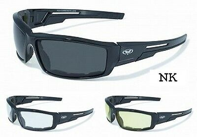 Sly Foam Padded Motorcycle Sunglasses-TRANSITION PHOTOCHROMIC LENS (Motorcycle Sunglasses Transition Lens)