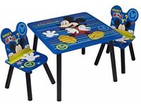 Kids Disney Mickey Mouse Blue Table and 2 Chair Set