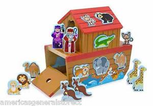 NOAH'S ARK SHAPE SORTER by MELISSA & DOUG animal wood lion zebra elephant tiger