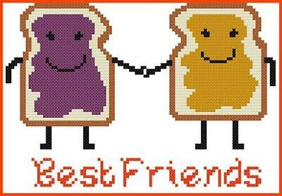 CROSS STITCH+ CRAFT PATTERN Best Friends Peanut Butter Jelly Sandwich Bread