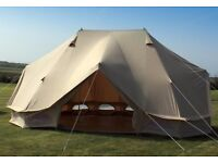 Luxury 7 metre canvas bell tent - used once, in perfect condition