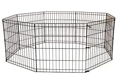 "36"" Tall Dog Playpen 8 Panel Exercise Fence Cage Kennel w/ Door Outdoor Indoor"
