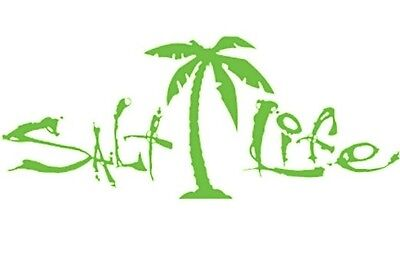 "SALT LIFE PALM TREE & SIGNATURE ""Lime"" UV Rated Vinyl DECAL *FREE SHIPPING*"