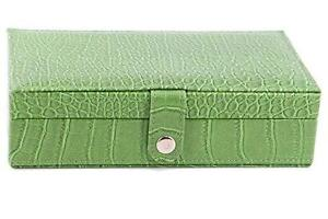 7 Day Pill Box Medication & Prescription Organizer with Leather Travel Case (Green)