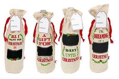 Jute Christmas Wine Bags (Set of Four) - Christmas Wine Bags