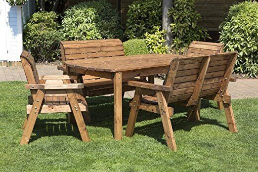 New 6 seater wooden garden table bench wood garden for 12 seater wooden outdoor table