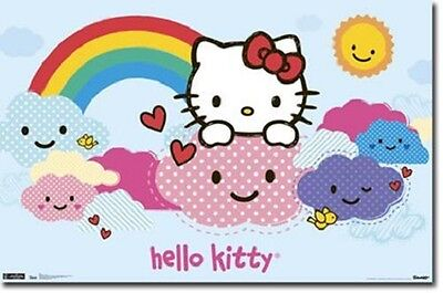 HELLO KITTY RAINBOW CLOUDS POSTER PRINT NEW 34x22 FREE - Rainbow Kitty