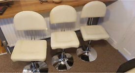 3x Low Bar Stools Faux Cream Leather