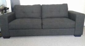 2 x 3 seater brown fabric sofas! Brilliant condition