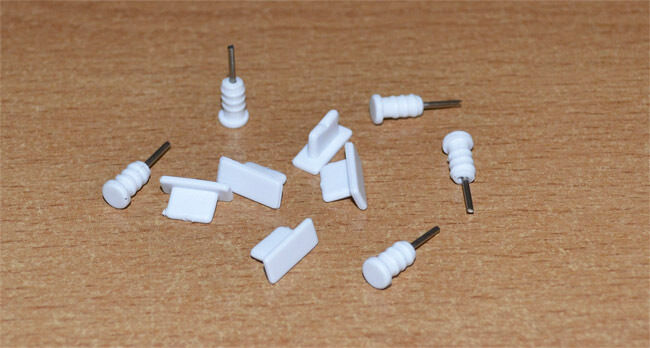 10X White Anti-dust Dock Plug + 3.5mm Earphone Anti-Dust Cap for iPhone SE 5S 6S
