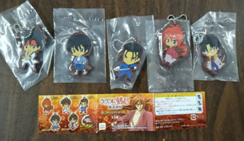 Ru Rouni Kenshin Rubber Phone Strap 5 Pc. Figure Set - Bandai Japan Import RARE