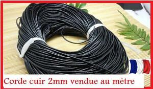 corde cuir 2mm vendue au m tre pour bijoux collier. Black Bedroom Furniture Sets. Home Design Ideas