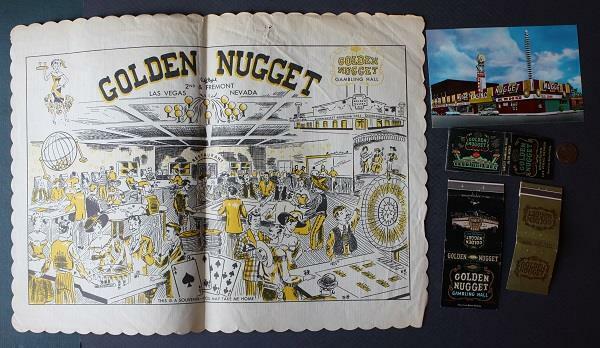 1960s Las Vegas Nevada Golden Nugget Casino placemat-postcard-3 matchbook set!*