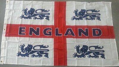 ENGLAND 4 LIONS ST GEORGE CROSS FLAG 5 x 3 FEET