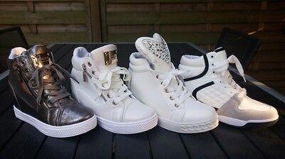 Damen Sneakers Sneaker-Wedges Keilabsatz Hidden-Alte Gold,weiß Weiße Wedge Sneakers