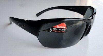 Bolle Ransom 11694 Sunglasses Shiny Black Sport Wrap Frames Gray TNS Lens (Bolle Sunglasses Lenses)