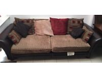 Brown Leather & Fabric American Size Four Seater Sofa