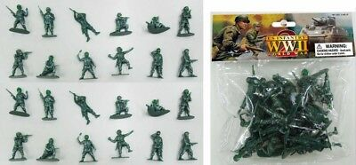 WWII US Infantry Paratroopers AIRFIX COPIES 24 Green Soldiers 1/32 FREE US SHIP