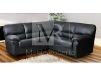 BRAND NEW CANDY ROMA BLACK OR BROWN FAUX LEATHER CORNER SOFA LARGE L SHAPE COUCH