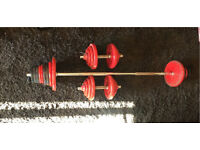 Solid Dumbells and solid cast iron weights with barbell bar