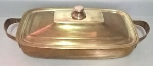 Vintage Rare Solid Heavy Brass Rectangular Serving Pan with Lid