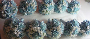8 Blue & White Bridesmaids Wedding Bouquet Of Flowers Available London Ontario image 3