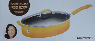 New Yellow Rachael Ray Hard Enamel Nonstick 5-Quart Covered Oval Saute Pan Pot  (5 Quart Oval Saute Pan)