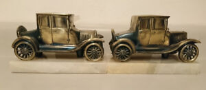Vintage Heavy Brass Model T Cars with Marble Base Bookends