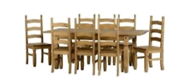 Extendable Dining Table and 8 Pine Chairs